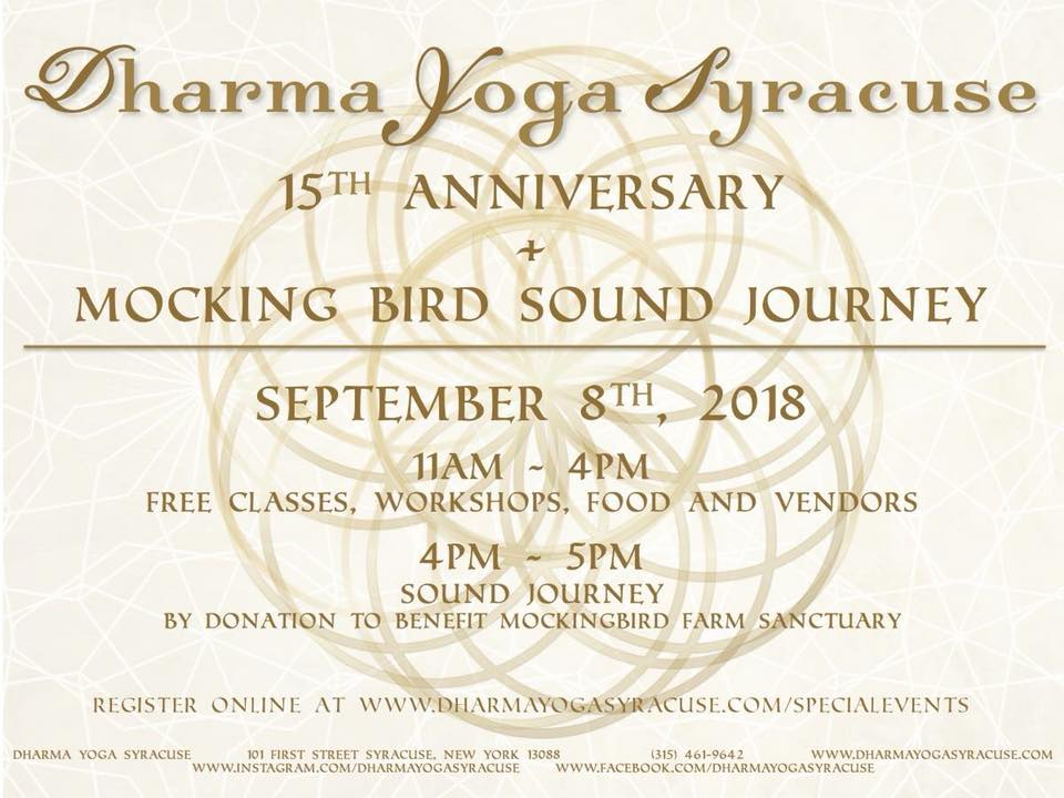 Dharma Yoga Syracuse celebrates their 15 year anniversary!